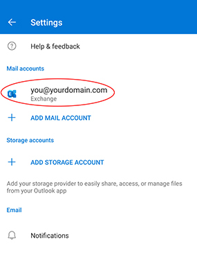 Adding an Exchange mailbox to Outlook for Android